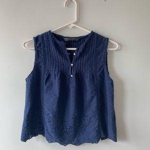 Zara Navy Pintuck Eyelet Sleeveless Shirt Top XS